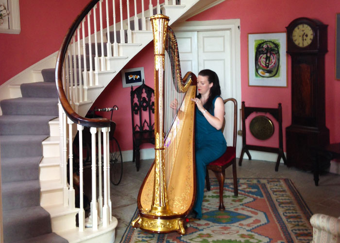 Harpist in the front hall